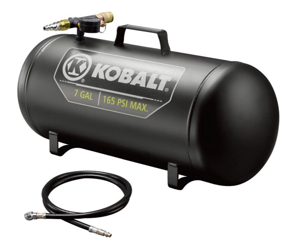 Kobalt Multi-Purpose Air Tank 7-Gallon Portable 165-PSI High Pressure Hose Home