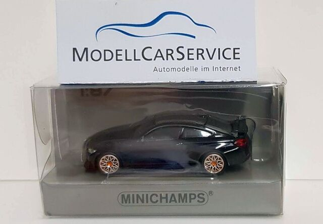 Minichamps 1/87: 870027102 BMW M4 GTS (2016 ), Negro Metálico/Naranja Llantas
