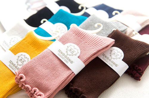 Unique Ladies Ripple Loose Top Ribbed Cotton Mix Harajuku Ankle Socks 10 Colours