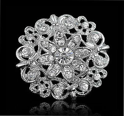 Silver Wedding Rhinestone Crystal Bridal Flower Bouquet Brooch Pin Jewelry Gifts