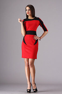 Elegant Women's Pencil Dress Crew Neck 3/4 Sleeve Tunic Sizes 8 - 16 FA256