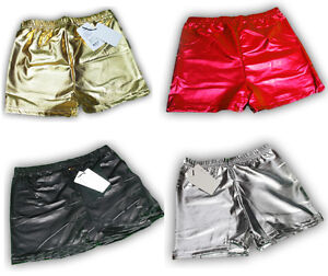 New-Womens-Ladies-Shiny-WET-LOOK-Mini-Short-Stretchy-Hot-Pants-Tutu-Metallic-UK