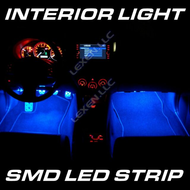 "LED B5 BLUE 2X BIG 12-SMD 12"" INTERIOR STRIP FOOTWELL LIGHT DASH BULB EXTERIOR c"