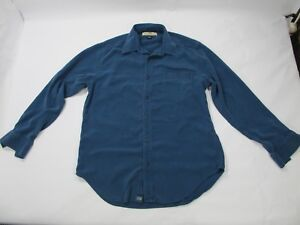 Tommy Bahama 100% Silk Women's Small Solid Dark Blue Long Sleeve Button Up Shirt