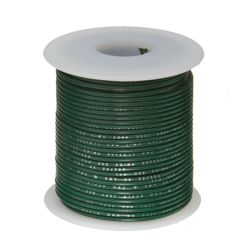 """16 AWG Gauge Stranded Hook Up Wire Green 25 ft 0.0508/"""" UL1015 600 Volts"""