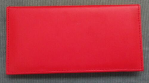 Womens Men Synthetic Leather Brown Black Red Green Checkbook Cover Holder Wallet