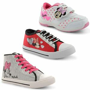 New-Girls-Kids-Cartoon-Minnie-Mouse-Lace-Up-Gliiter-Hi-Top-Trainers-Size-UK-10-2