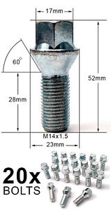 M14-bolts-for-aftermarket-alloy-wheels-VW-EOS-1F7-1F8-2006-15-Convertible-x-20