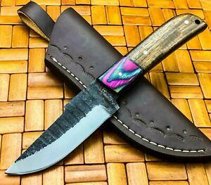 Amazing Handmade Carbon Steel Skinner Knife & Sheath Rose Wood Handle J322