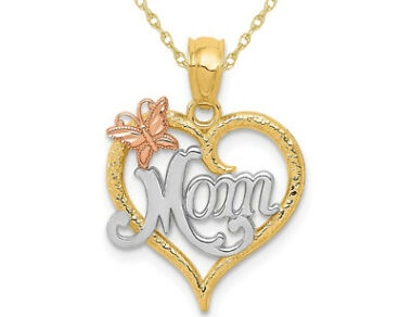 MOM Heart Butterfly Pendant Necklace in 14K Yellow and White Gold