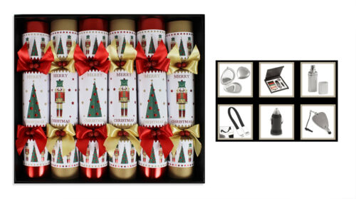 Luxury Christmas Crackers Box of 6 Handmade Various Designs Glitter Great Gifts