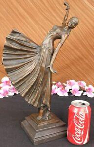 Art-Deco-Signed-Chiparus-Dancer-Bronze-Sculpture-Marble-Statue-Figurine-Artwork