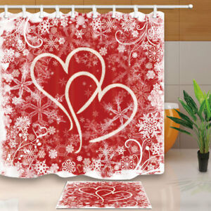 Image Is Loading Valentine With Heart Snowflake Shower Curtain Home Fabric