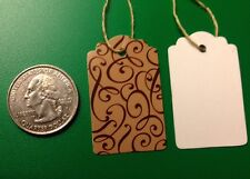 """100 Small Scalloped Zebra Turquoise String Tags Price Tag Gift Tag 1/"""" x 1 5//8/"""""""