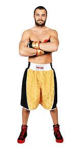 Boxing-Shorts-TOP-TEN-034-Champ-034-Gold-Schwarz-Ultraleichtes-Polyester-Boxen