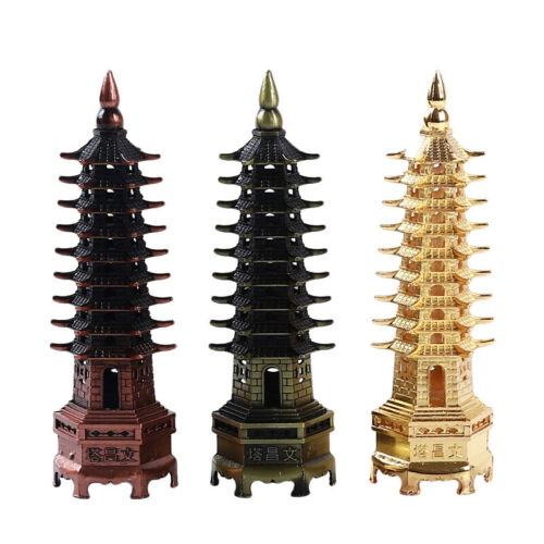 Wenchang Tower Feng Shui Metal 3D Metal Model Pagoda Tower Crafts Statue LP