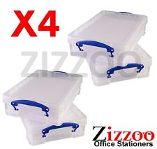 4 X REALLY USEFUL 4 LITRE STORAGE BOXES - CLEAR PLASTIC WITH LID BOX - FREE P&P