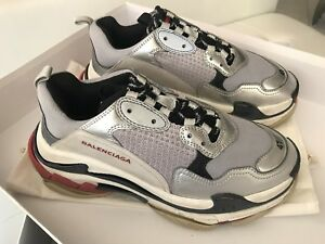 32f730373a0d3 MENS Balenciaga Triple S NOIR ARGENT GRAY BLACK SILVER RED SNEAKERS ...
