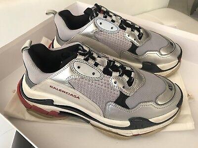 Herren Balenciaga TRIPLE S Schwarz Argent Grau Schwarz Silber Rot Sneakers 41 | eBay
