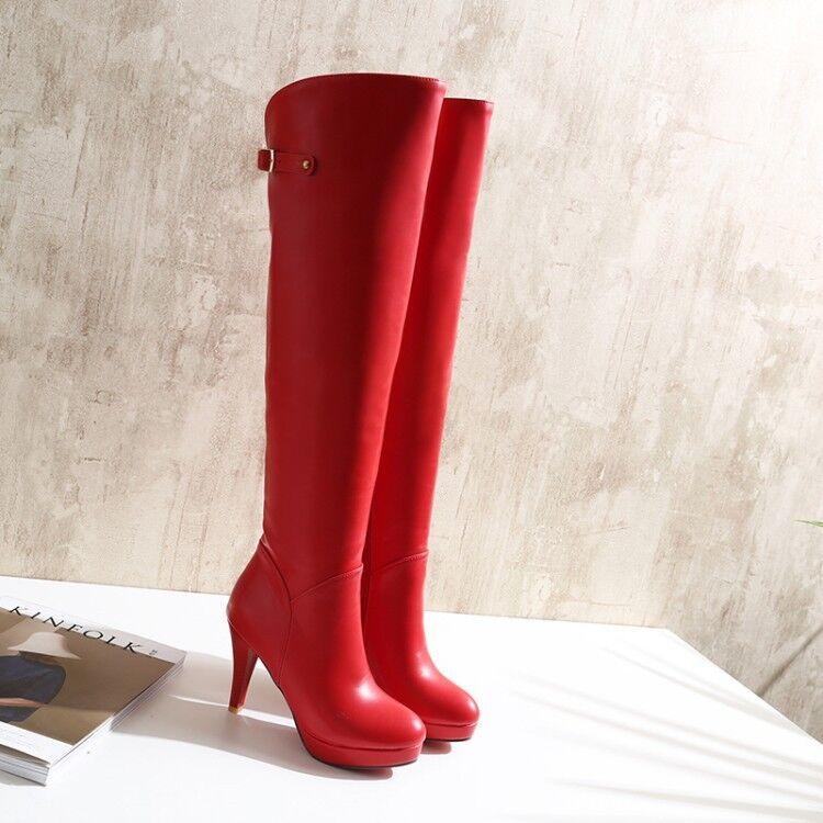 stiefel schenkel frau hohe absätze 10 cm rot komfortabel heiß simil leder 9404