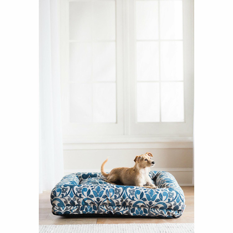 LaZBoy Rosie Lounger Blue Jacquard Dog Bed, 35 L X 27 W