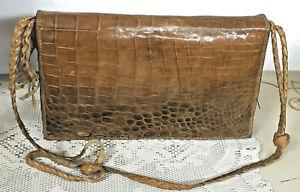 BORSA-Donna-in-Vera-Pelle-di-coccodrillo-marrone-con-tracolla-Italia-Vintage