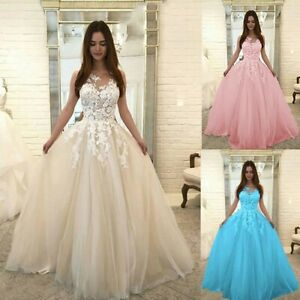 Women-Floral-Lace-Wedding-Elegant-Chiffon-Evening-A-Line-Party-Dress-Ball-Gown