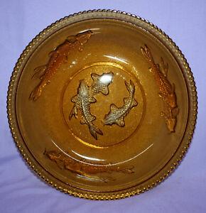 Vintage Amber Koi Fish Glass Bowl by KIG