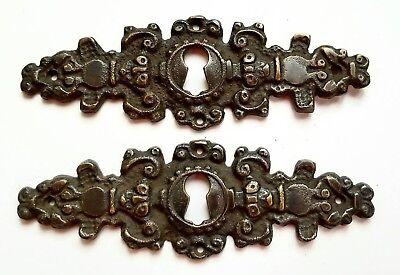 "2 Antique Brass Keyhole French Escutcheons Hardware Ornate  Keyhole 4 1//4/"" #E8"