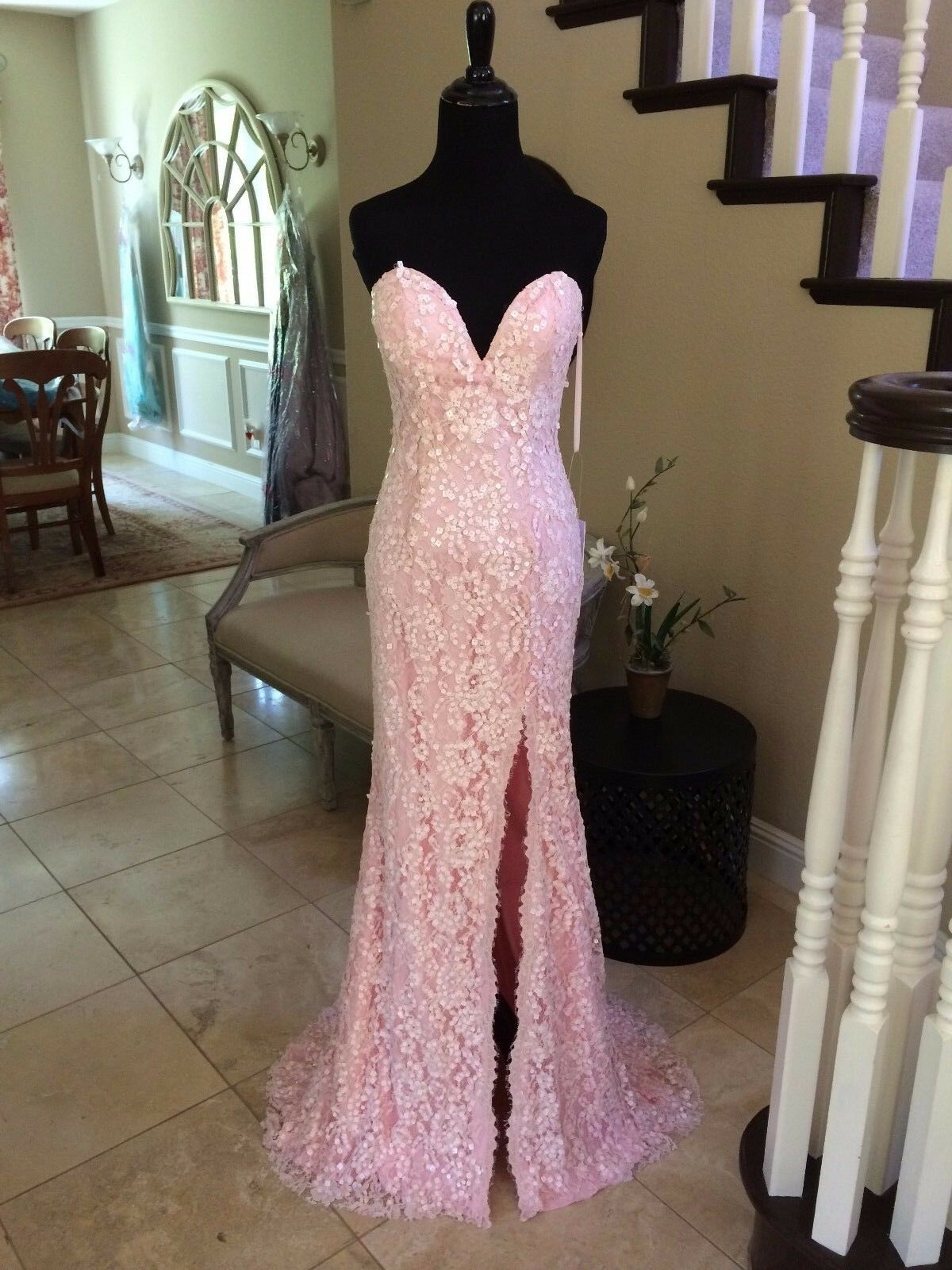 750 NWT LIGHT PINK LACE JOVANI PROM PAGEANT FORMAL DRESS GOWN SIZE 6