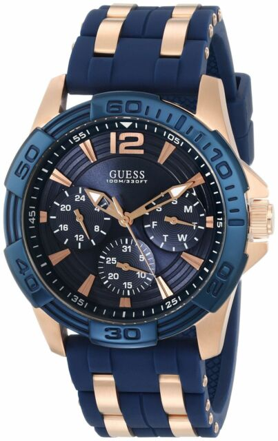 `New Guess Men U0366G4 Multifunctions Dial Silicone Blue-Rosegold Band Watch