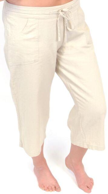 40776456f92d9 Tom Franks Ladies Linen Blend Cropped 3 4 Length Trousers Beige 10
