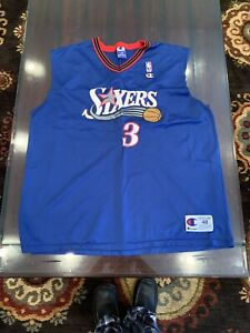 VTG-Allen-Iverson-3-Philadelphia-76ers-Champion-XL-48-Blue-Jersey-See-Photos