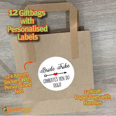 PERSONALISED STICKERS WEDDING 487 12 X HEN PARTY WHITE PAPER PARTY GIFT BAGS