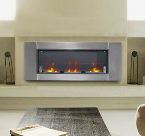 homcom 53 5 wall mounted bio ethanol fireplace w 3