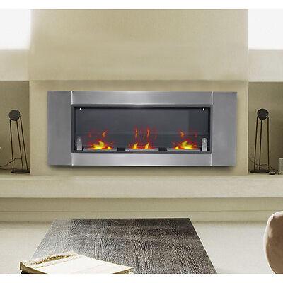 "HOMCOM 53.5"" Wall Mounted Bio Ethanol Fireplace W/ 3 Insert Burners Silver Black"