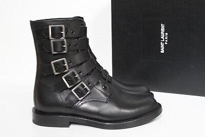 b4cc72f2 New sz 7.5 / 37.5 Saint Laurent Ranger Black Leather Buckle Ankle Boots  Shoes   eBay