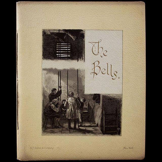 1890 EDGAR ALLAN POE BELLS ILLUSTRATED POEM RARE LITHOGRAPHS GOTHIC HORROR FIRE