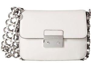 Michael Kors Piper Large Flap Optic White Leather Shoulder Bag for ... b763df39b967b