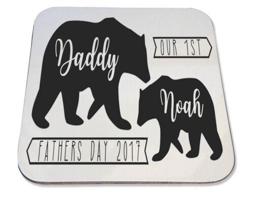 Personnalisé Imprimé Coaster cadeau fête des pères papa Bear Boissons Mat
