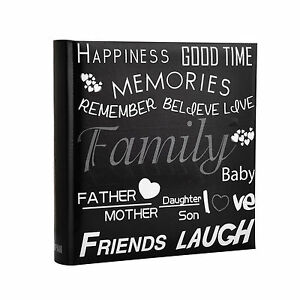 6x4'' Large Slip In Memo Text Art Design Photo Album For 200 Holds -  Black  692762141246