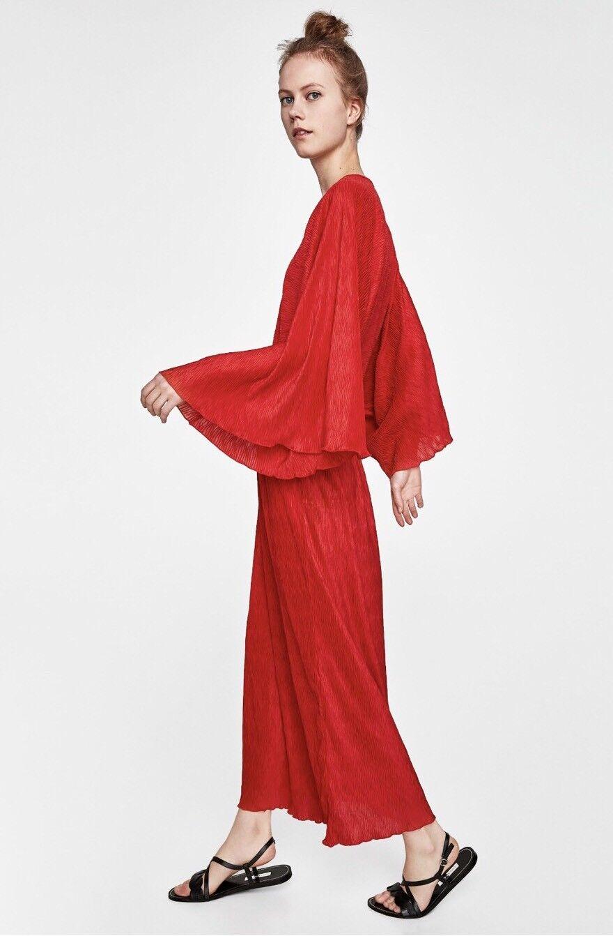 Zara Red Pleated Kimono Dress Size  S Bnwt
