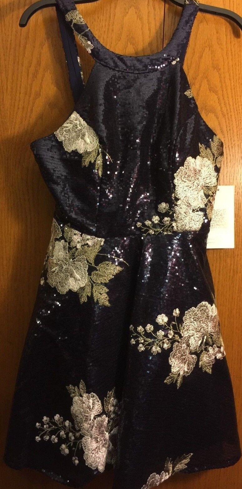 NWT Emerald Sundae Blau Navy Floral Sequin Cocktail Party Dress Juniors Größe 15