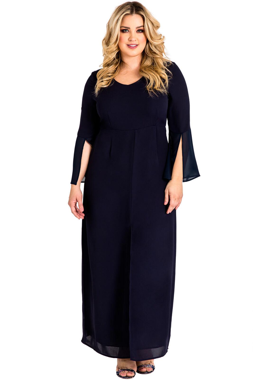 Standards & Practices Plus Größe Woherren Blau Slit Flare Bell Sleeve Maxi Dress