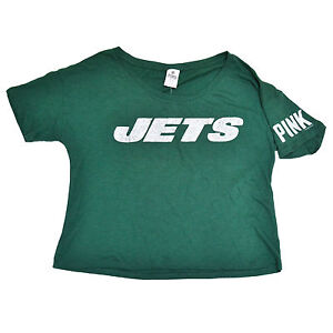 a946be29 Victoria's Secret Pink T Shirt Bling Logo New York Jets Nfl Graphic ...