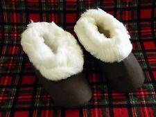 Alpaca Brown Slippers White Fur Sizes W/girls 13, M/boys 11.5, Euro 45 From Peru