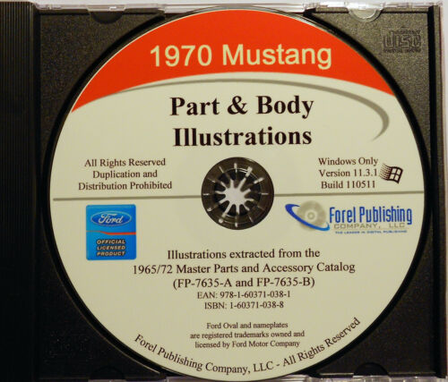1970 FORD MUSTANG ILLUSTRATED EXPLODED VIEW PARTS AND ILLUSTRATIONS MANUAL CD