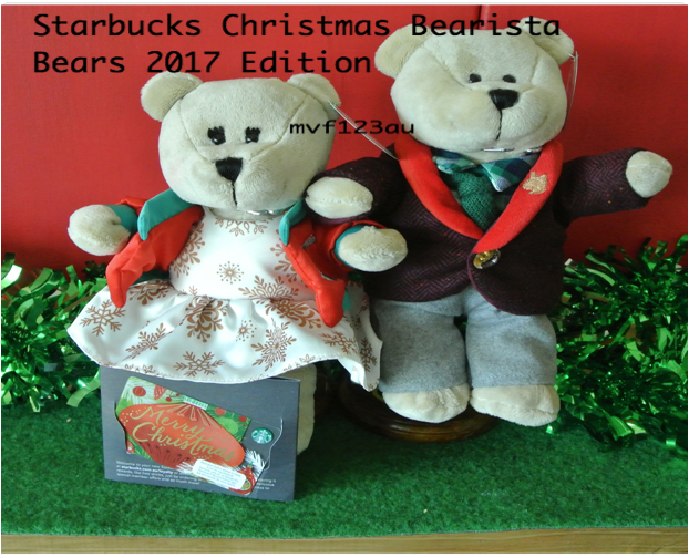 STARBUCKS Christmas Bearista Boy and Girl 2017 (Set of 2) + Merry Christmas Card
