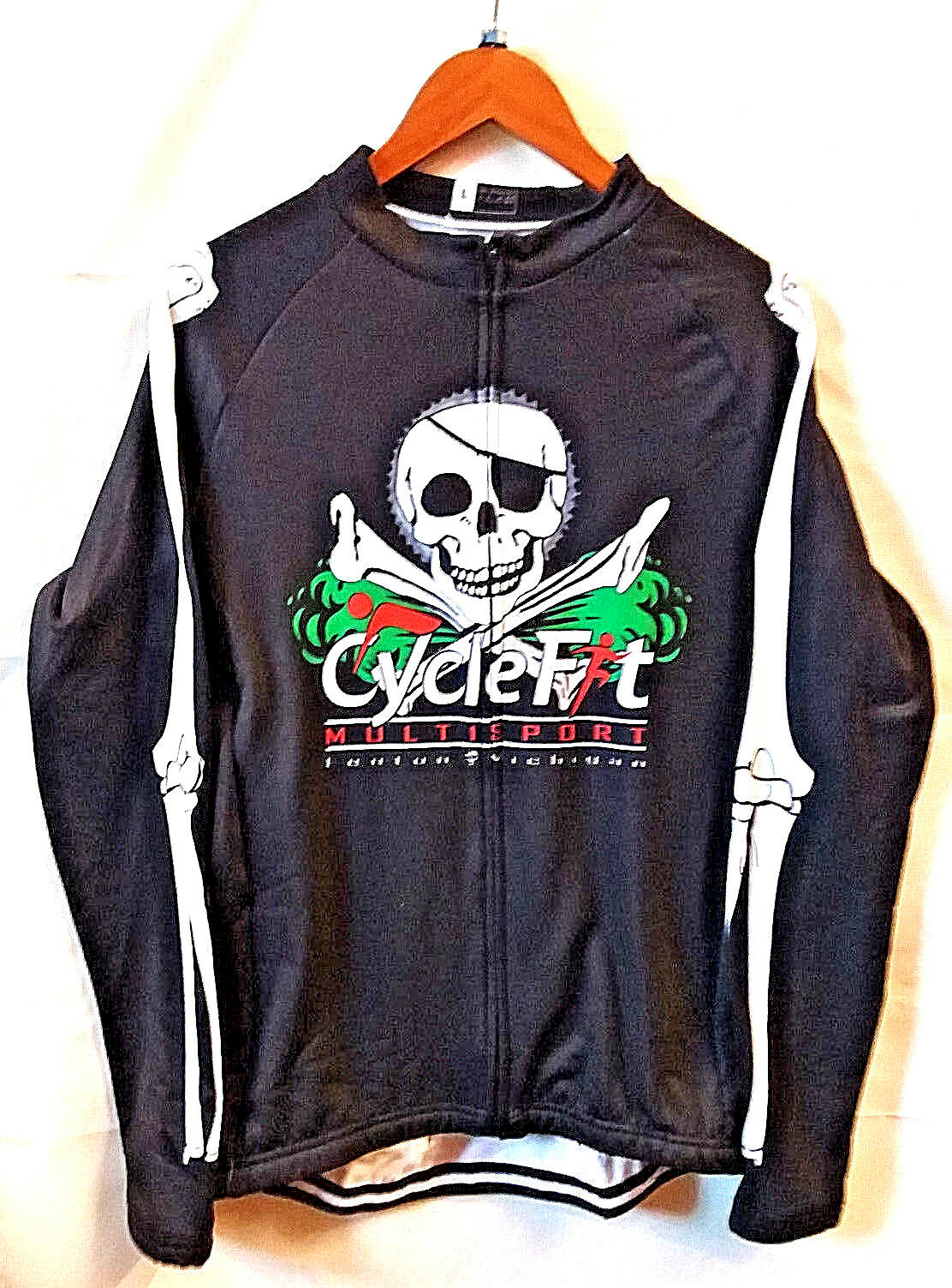 Kihlstreng Cross Bones Lange mouw Cycling Thermal Jersey, Cyclefiet Sports-mannens