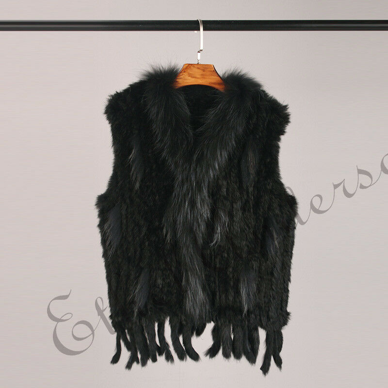 Classic Real Knitted Gilet Gilet Gilet Sale Star Farm Rabbit Fur Vest With Soft Fur Collar 1c66bb